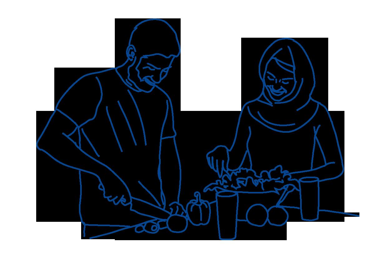 Gemeinsam Kochen und Essen_blau